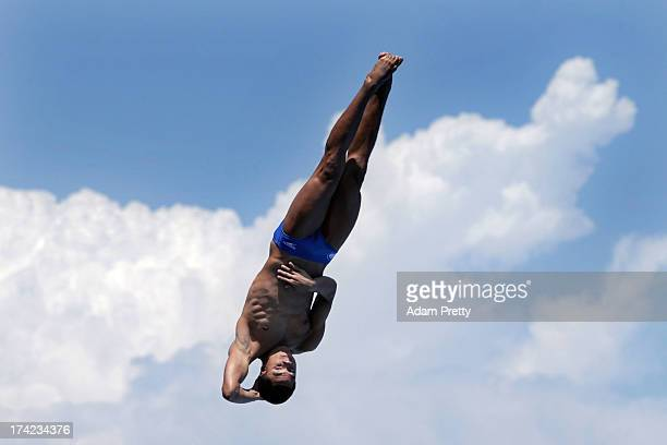 Sebastian Morales Mendoza of Colombia competes in the Men's 1m Springboard Diving final on day three of the 15th FINA World Championships at Piscina...