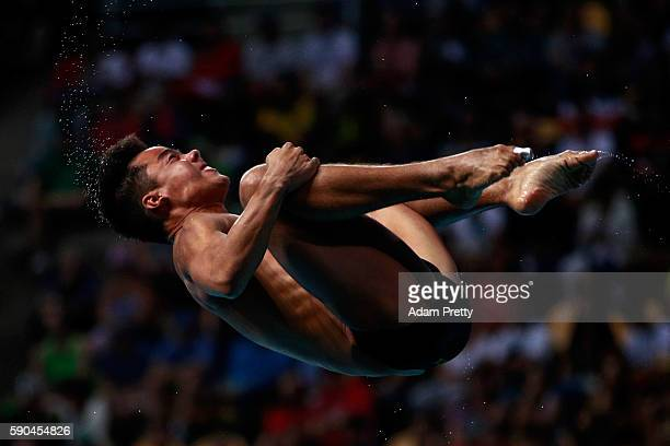 Sebastian Morales Mendoza of Colombia competes in the Men's Diving 3m Springboard semi final at the Maria Lenk Aquatics Centre on August 16 2016 in...
