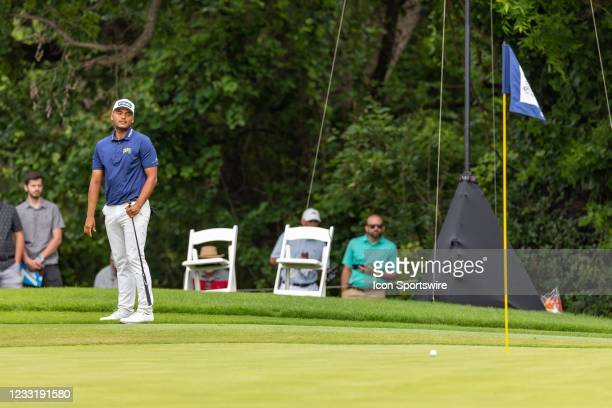 Sebastian Munoz reacts after leaving his birdie put short on during the final round of the Charles Schwab Challenge on May 30, 2021 at Colonial...