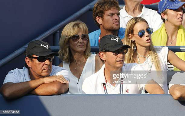 Sebastian Nadal and Ana Maria Parera parents of Rafael Nadal and his sister Maria Isabel Nadal attend his match on day three of the 2015 US Open at...
