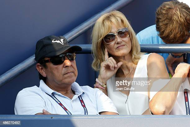 Sebastian Nadal and Ana Maria Parera parents of Rafael Nadal attend their son's match on day three of the 2015 US Open at USTA Billie Jean King...