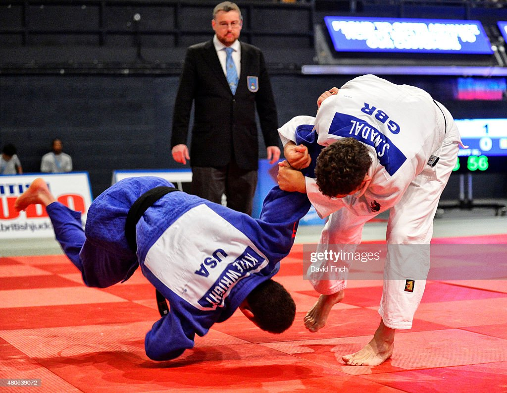 Sebastian Nadal of Great Britain (white) attempts a standing armlock on Kyle Wright of the USA on his way to his fifth place in the u81kg category during the 2015 London European Cup (11-12 July) at Wembley Arena, London, England, United Kingdom.
