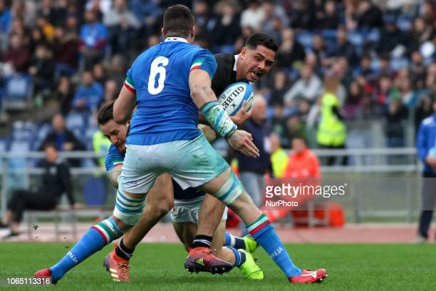 Sebastian Negri and Anton LienertBrown during the Test Match 2018 between Italy and New Zealand at Stadio Olimpico on November 24 2018 in Rome Italy