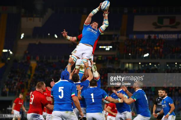 Sebastian Negri da Ollegio of Italy cliams theball in the lineout during the Guinness Six Nations match between Italy and Wales at Stadio Olimpico on...