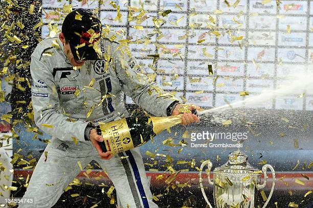 Sebastian Ogier of France celebrates after winning Race of Champions during day two of the race of champions event at the Esprit Arena on December 4...