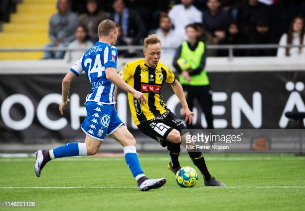 Sebastian Ohlsson of IFK Goteborg and Adam Andersson of BK Hacken during the Allsvenskan match between BK Hacken and IFK Goteborg at Bravida Arena on...