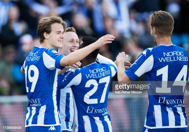 Sebastian Ohlsson of IFK Goteborg celebrates after scoring to 30 during the Allsvenskan match between IFK Goteborg and IF Elfsborg at Ullevi on April...