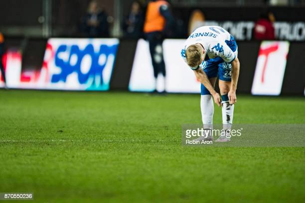 Sebastian Olsson of IFK Goteborg dejected during the Allsvenskan match between IFK Goteborg and GIF Sundvall at Gamla Ullevi on November 5 2017 in...