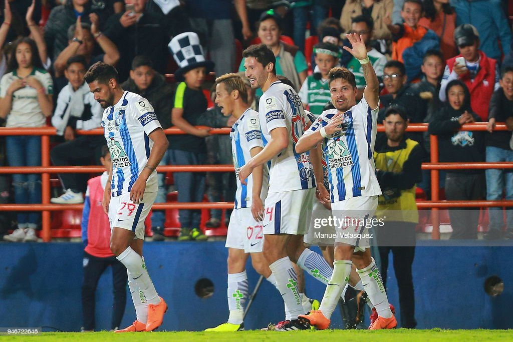Sebastian Palacios of Pachuca celebrates after scoring the third goal of his team during the 15th round match between Pachuca and Santos Laguna as part of the Torneo Clausura 2018 Liga MX at Hidalgo Stadium on April 14, 2018 in Pachuca, Mexico.
