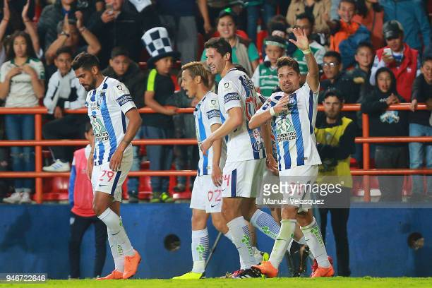 Sebastian Palacios of Pachuca celebrates after scoring the third goal of his team during the 15th round match between Pachuca and Santos Laguna as...