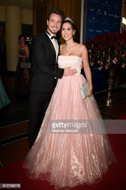 Sebastian Pannek and CleaLacy Luhn arrive for the Semper Opera Ball 2018 at Semperoper on January 26 2018 in Dresden Germany