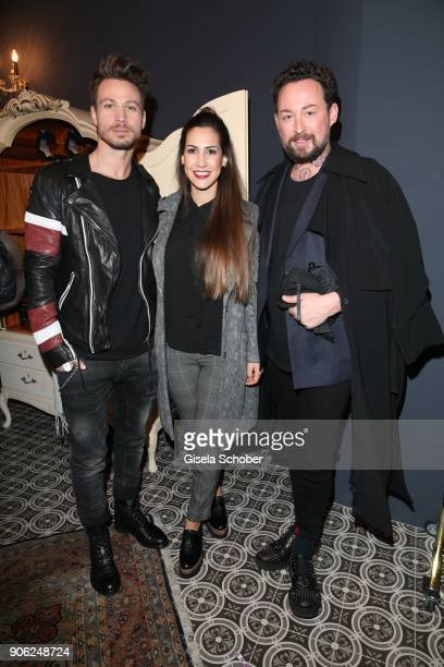 Sebastian Pannek and girlfriend CleaLacy Juhn and Fashion designer Marcel Ostertag during the Marcel Ostertag Fashion Presentation at Schlueter...