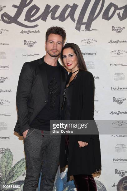 Sebastian Pannek and Kattia Vides attend the Lena Hoschek Fashion Show Berlin at Botanischer Garten on January 16 2018 in Berlin Germany