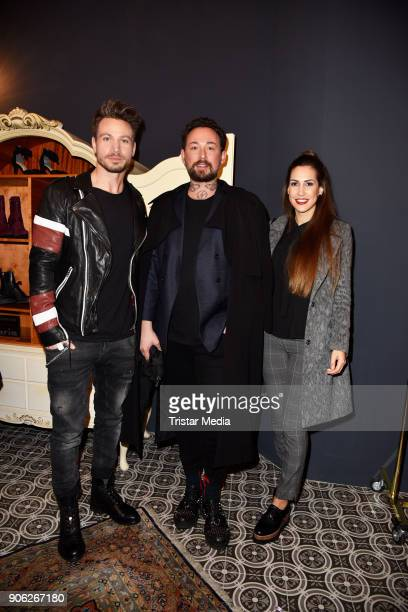 Sebastian Pannek Marcel Ostertag and CleaLacy Juhn during the Marcel Ostertag Fashion Presentation on January 17 2018 in Berlin Germany
