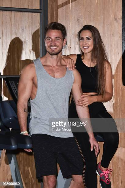 Sebastian Pannek with his girlfriend CleaLacy Juhn during John's Bootcamp Opening on May 2 2018 in Berlin Germany