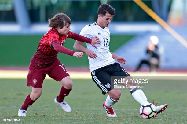 Sebastian Papalia of Germany U16 challenges Francisco Conceicao of Portugal U16 during UEFA Development Tournament match between U16 Germany and U16...