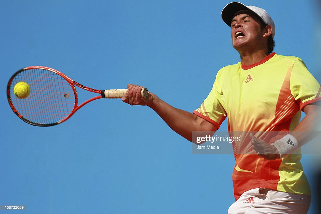 Sebastian Penaloza of Chile in action during the Mexican Youth Tennis Open at Deportivo Chapultepec on December 24, 2012 in Mexico City, Mexico.