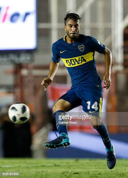 Sebastian Perez of Boca Juniors kicks the ball during a match between Argentinos Juniors and Boca Juniors as part of Superliga 2017/18 at Diego...