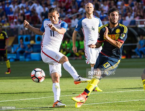Sebastian Perez of Colombia blocks a shot from Alejandro Bedoya of United States during the Copa America Centenario Group A match between the United...