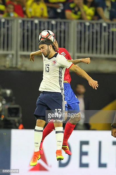 Sebastian Perez of Colombia heads the ball during a group A match between Colombia and Costa Rica at NRG Stadium as part of Copa America Centenario...