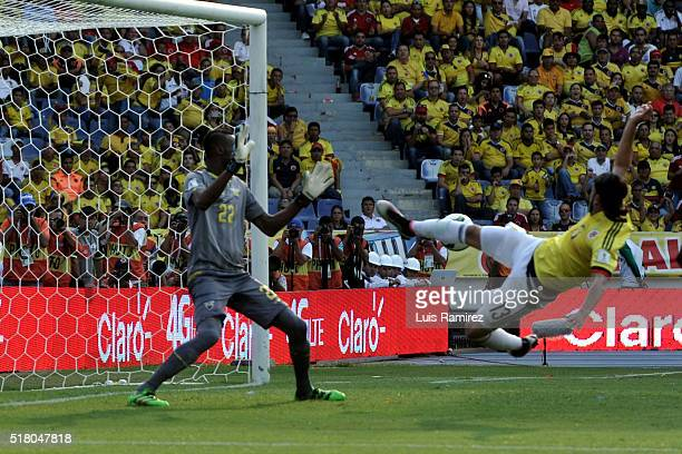 Sebastian Perez of Colombia shoots the ball to score the second goal of his team during a match between Colombia and Ecuador as part of FIFA 2018...