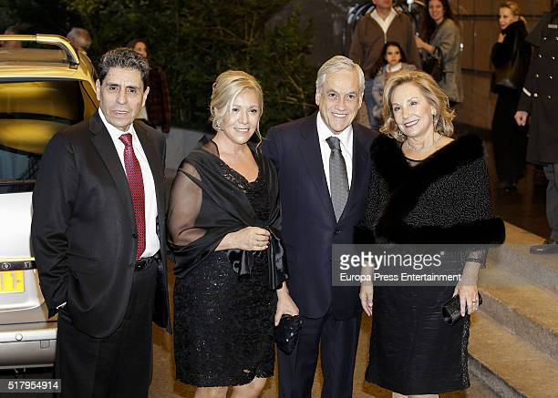 Sebastian Pinera and Cecilia Morel attend the Mario Vargas Llosa 80th birthday party on March 28 2016 in Madrid Spain
