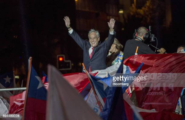Sebastian Pinera Chile's presidentelect greets his supporters at the National Renewal party headquarters after the second round presidential general...