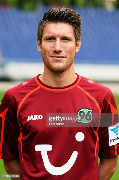 Sebastian Pocognoli poses during the Hannover 96 team presentation at HDI Arena on July 11 2013 in Hanover Germany