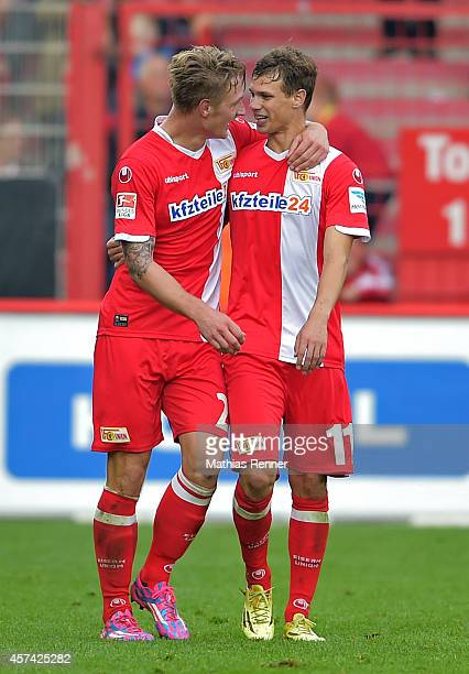 Sebastian Polter and Maximilian Thiel of 1 FC Union Berlin celebrate after scoring the 3:1 during the game between 1 FC Union Berlin and SV...