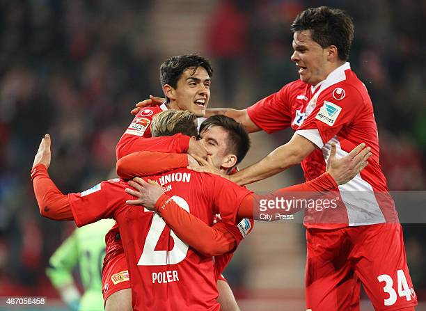 Sebastian Polter Eroll Zejnullahu Valmir Sulejmani and Fabian Schoenheim of 1 FC Union Berlin celebrate after scoring the 10 during the match between...