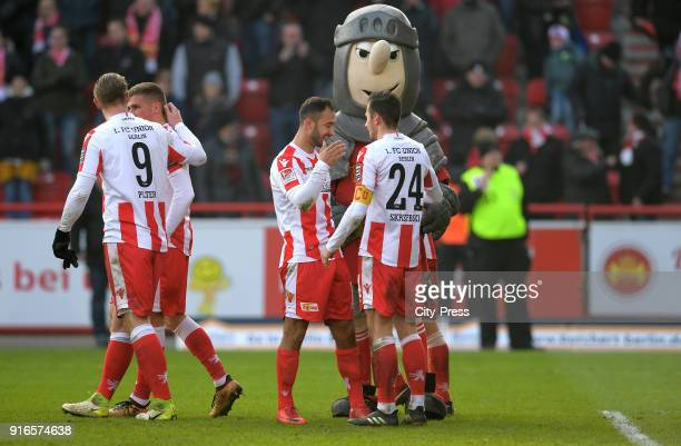 Sebastian Polter Grischa Proemel Akaki Gogia and Steven Skrzybski of 1 FC Union Berlin after the second Bundesliga game between Union Berlin and...