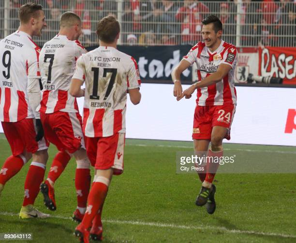 Sebastian Polter Marcel Hartel Simon Hedlund and Steven Skrzybski of 1 FC Union Berlin during the game between Union Berlin and dem FC Ingolstadt 04...