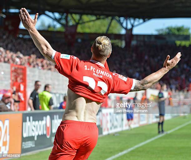 Sebastian Polter of 1 FC Union Berlin celebrates after scoring the 20 during the game between Union Berlin and Eintracht Braunschweig on may 24 2015...