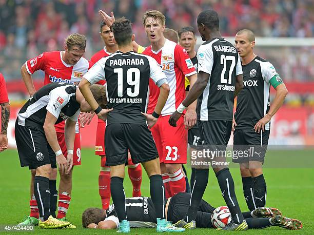 Sebastian Polter of 1 FC Union Berlin gestures during the game between 1 FC Union Berlin and SV Sandhausen on october 18 2014 in Berlin Germany