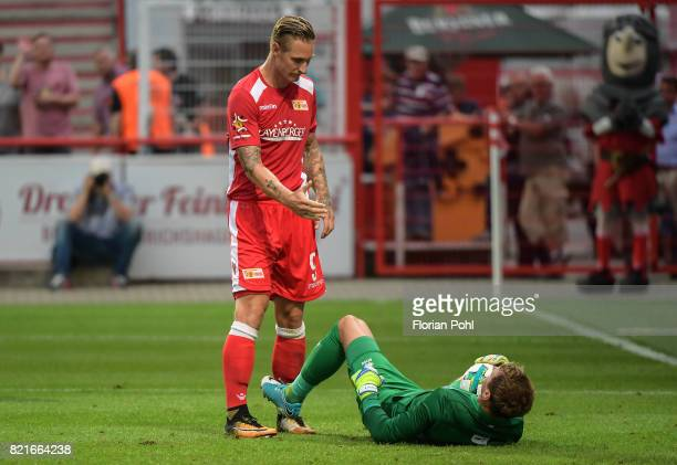 Sebastian Polter of 1FC Union Berlin and Alex Smithies of the Queens Park Rangers during the game between Union Berlin and the Queens Park Rangers on...