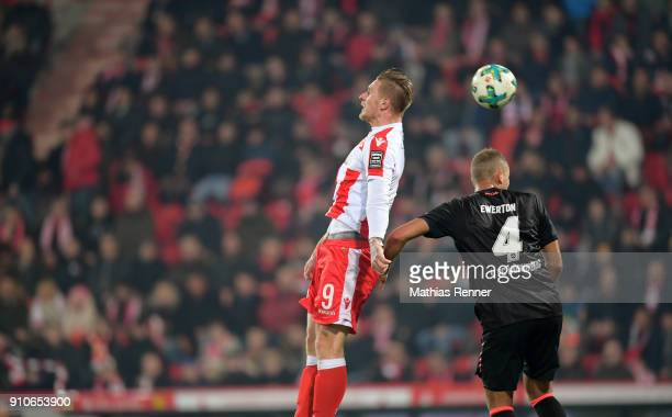 Sebastian Polter of 1FC Union Berlin and Ewerton of 1 FC Nuernberg in action during the game between Union Berlin and the 1 FC Nuernberg on january...