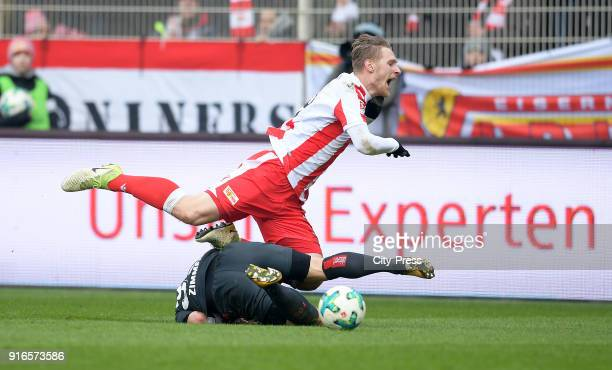 Sebastian Polter of 1FC Union Berlin and Jean Zimmer of Fortuna Duesseldorf during the second Bundesliga game between Union Berlin and Fortuna...