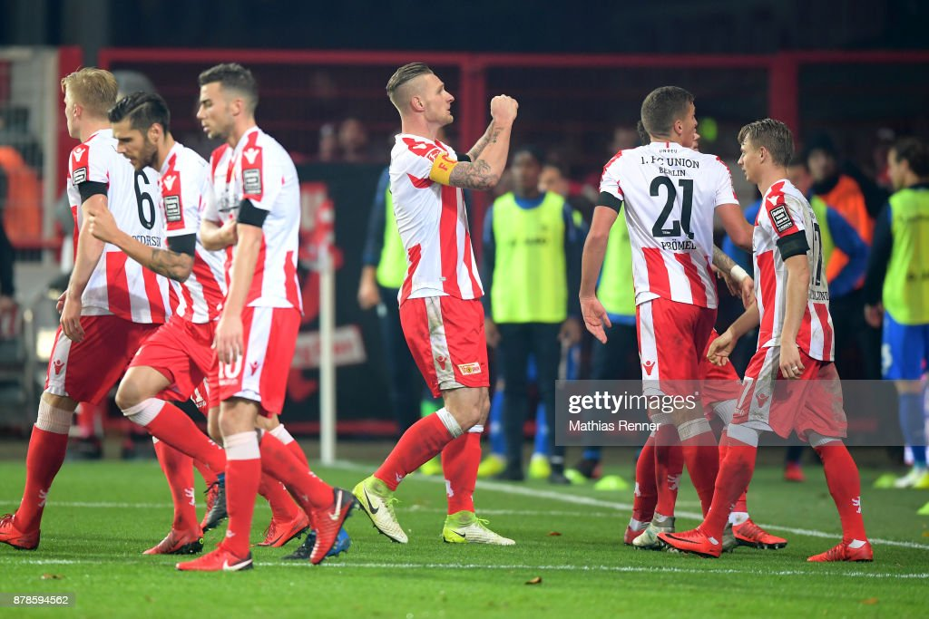 Sebastian Polter of 1.FC Union Berlin celebrates after scoring the 2:1 during the Second Bundesliga match between Union Berlin and SC Darmstadt 98 on November 24, 2017 in Berlin, Germany.