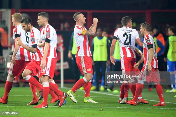 Sebastian Polter of 1FC Union Berlin celebrates after scoring the 21 during the Second Bundesliga match between Union Berlin and SC Darmstadt 98 on...