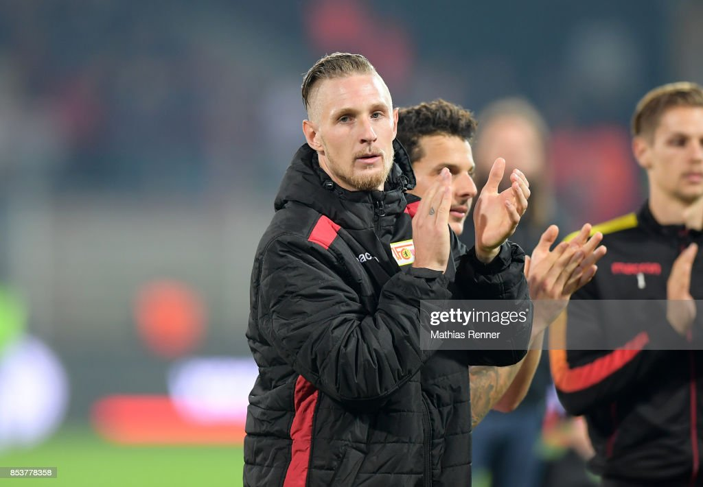 Sebastian Polter of 1.FC Union Berlin celebrates the 5:0 win after the game between Union Berlin and dem 1. FC Kaiserslautern on September 25, 2017 in Berlin, Germany.