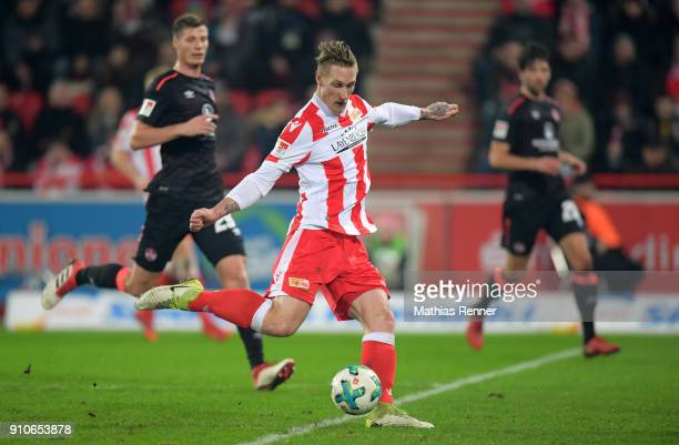 Sebastian Polter of 1FC Union Berlin in action during the game between Union Berlin and the 1 FC Nuernberg on January 26 2018 in Berlin Germany