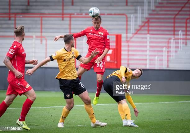Sebastian Polter of 1FC Union Berlin Sascha Horvath of SG Dynamo Dresden Marcus Ingvartsen of 1 FC Union Berlin and Jannik Mueller of SG Dynamo...