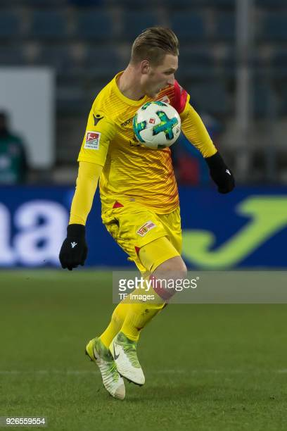 Sebastian Polter of Berlin controls the ball during the Second Bundesliga match between Arminia Bielefeld and Union Berlin at SchuecoArena on...