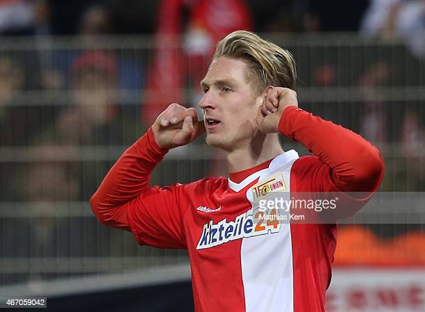 Sebastian Polter of Berlin jubilates after scoring the first goal during the Second Bundesliga match between 1.FC Union Berlin and FC St. Pauli at...