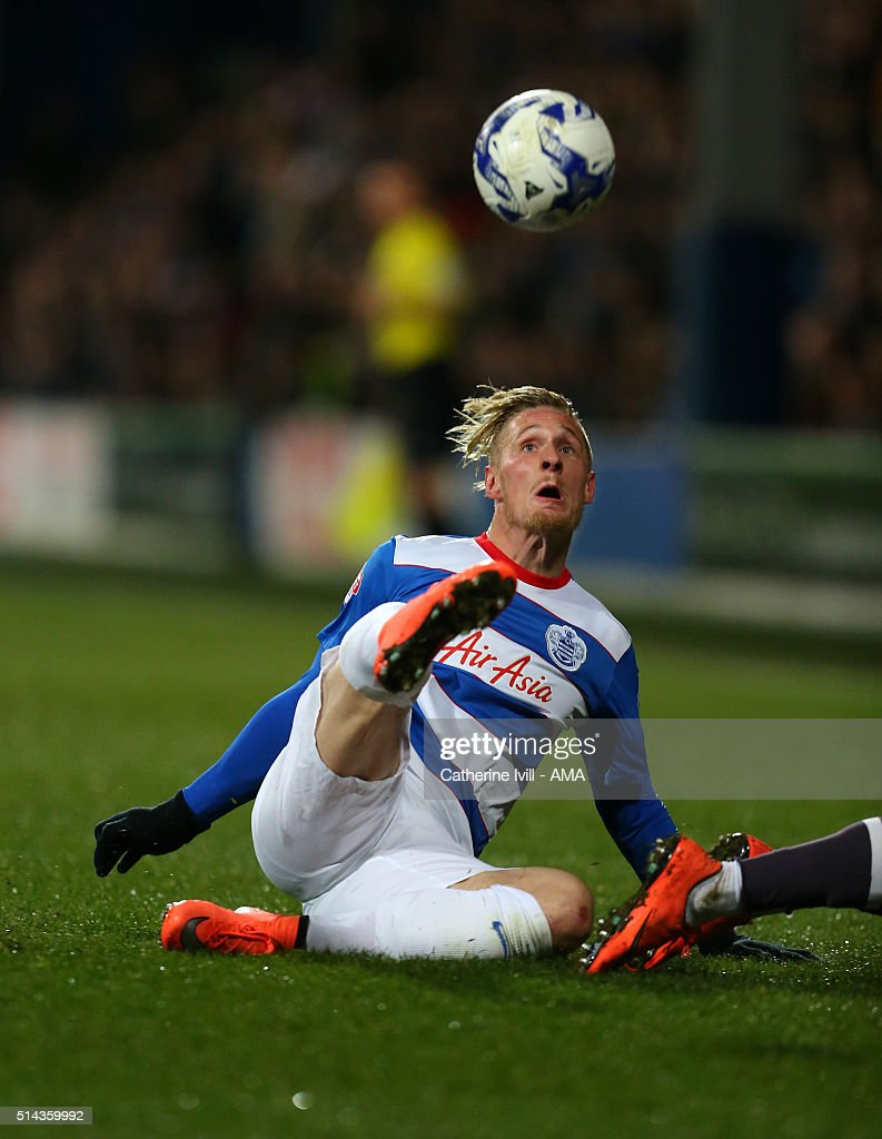 Sebastian Polter of Queens Park Rangers during the Sky Bet Championship match between Queens Park Rangers and Derby County at at Loftus Road on March 8, 2016 in London, England.