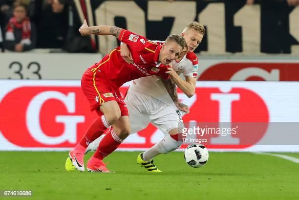 Sebastian Polter of Union Berlin and Timo Baumgartl of Stuttgart battle for the ball during the Second Bundesliga match between VfB Stuttgart and 1...