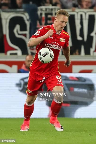 Sebastian Polter of Union Berlin controls the ball during the Second Bundesliga match between VfB Stuttgart and 1 FC Union Berlin at MercedesBenz...