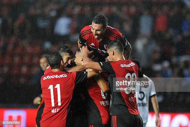 Sebastian Prediger of Newell´s Old Boys celebrates after scoring the first goal of his team during a match between Colon and Newell's Old Boys as...