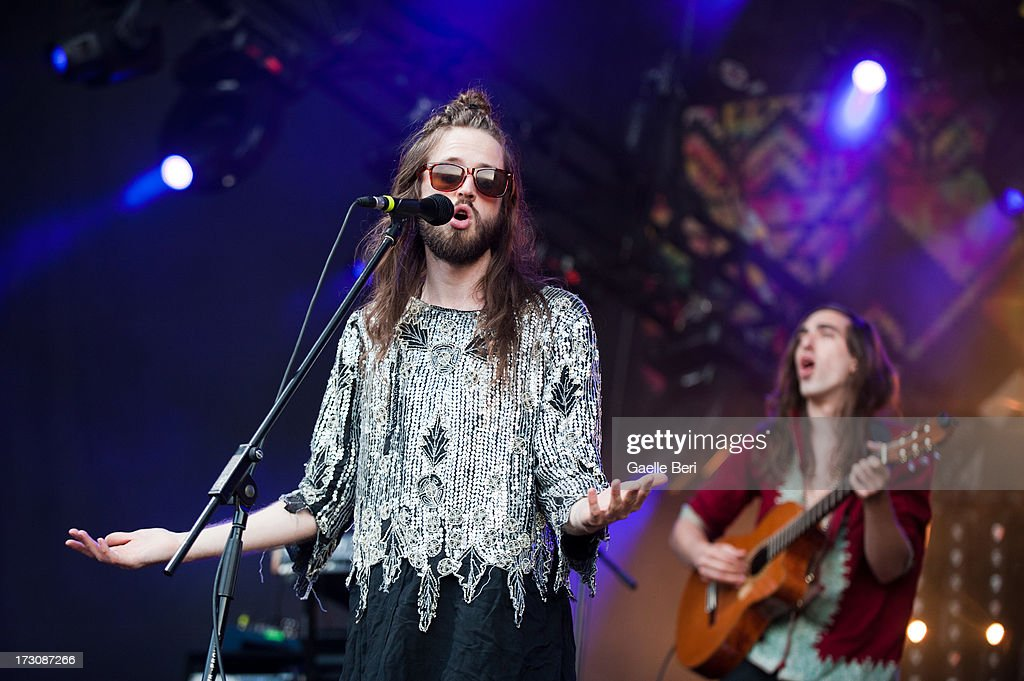 Sebastian Pringle and Gilbert Vieric of Crystal Fighters performs on stage on Day 4 of Open'er Festival 2013 on July 6, 2013 in Gdynia, Poland.