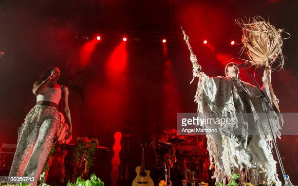 Sebastian Pringle from Crystal Fighters performs on stage at WiZink center on March 15 2019 in Madrid Spain